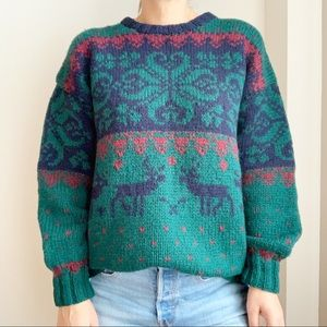 Vtg Braemar Hand Knit Crewneck Sweater Chunky M